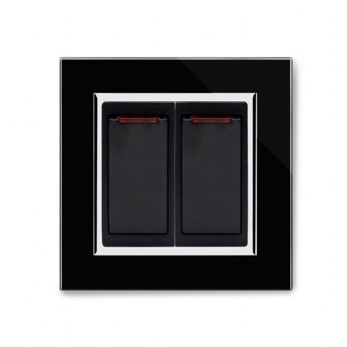 RetroTouch 20 Amp Double Pole Dual Switch with Neon Black Glass CT 04202